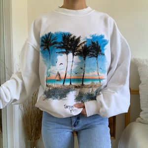 Tarpon Springs Florida White Crew Neck Sweatshirt
